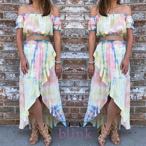 2 piece tie dyed skirt and top